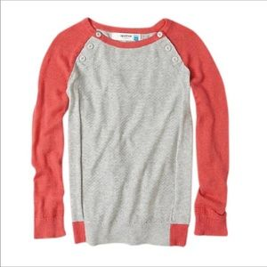 Sparrow Anthropologie Coral & Gray Sweater M